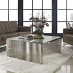Modway Gridiron Contemporary Glass Top Coffee Table EEI-284-SLV