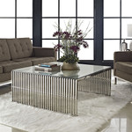Modway Gridiron Contemporary Glass Top Coffee Table EEI-284-SLV