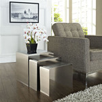 Modway Rush Set of 3 Contemporary Silver Nesting Tables EEI-286