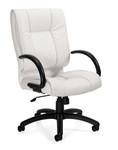 Offices To Go 2701-BL28 Mid Back Executive Chair in White Luxhide