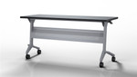 "Mayline Flip-N-Go LF1848 48"" x 18"" Nesting Training Table with Silver Base (2 Finish Options Available!)"