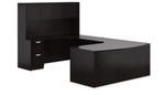 Offices To Go American Espresso Desk Layout with Hutch SL-D-AEL