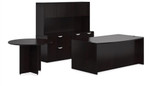 Offices To Go Espresso Desk with Credenza and Meeting Table SL-H-AEL