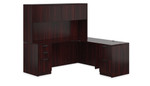 Offices To Go Executive L Desk with Hutch in Mahogany