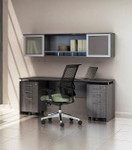 "Mayline Medina 72"" Gray Steel Finished Credenza Desk with Mobile Pedestals and Hutch"