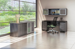 medina credenza desk with storage cabinets and pedestals in gray