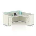 medina textured sea salt l-shaped modern reception desk