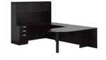 Offices To Go U Shaped Espresso Office Desk Layout with Hutch
