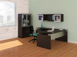 Mayline Medina Mocha L Desk with Hutch and Display Cabinet