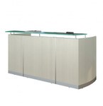 medina sea salt reception desk with glass transaction counter