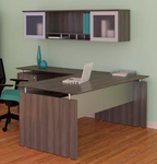 medina l desk with hutch in gray steel