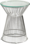 Santana Contemporary Glass End Table with Round Top by Woodstock