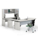 medina sea salt u shaped executive desk with glass door hutch mnt31tss