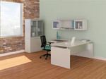 textured sea salt medina l-desk with hutch and wall cabinet