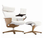 Eurotech Nuvem White Leather Reclining Executive Chair with Tablet Arm and Ottoman - NUVEMWHT