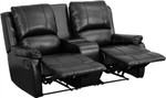 Two Person Black Leather Pillow Top Home Theater Recliner with Storage Console by Flash Furniture