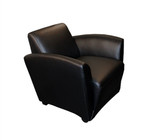 Mayline Santa Cruz Collection Black Leather Lounge Chair with Wheels