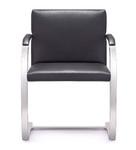 Woodstock Marketing Black Top Grain Leather Arlo Guest Chair