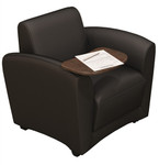 Mayline Santa Cruz Mobile Black Leather Lounge Chair with Tablet Arm