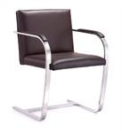 Woodstock Marketing Brown Italian Leather Arlo Series Side Chair