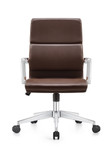 Woodstock Marketing Brown Leather Jimi Mid Back Conference Chair