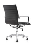 Woodstock Marketing Janis Fixed Base Ribbed Back Side Chair with Black Leather Upholstery