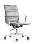Woodstock Marketing Joe Midtown Gray Leather Boardroom Chair