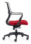 Woodstock Marketing Ravi Gray Mesh Conference Task Chair with Red Seat