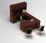Zira Bow Front U-Desk with Storage Hutch