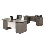 Mayline Sterling Driftwood Finished Executive Bow Front Desk and Credenza Set