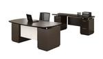 Mayline Sterling Mocha Finished Executive Bow Front Desk and Credenza Set