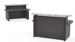 "Mayline Sterling Series 72"" Modern Reception Desk with Glass Transaction Counter"