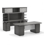 "Mayline Sterling STL10 72"" Bow Front Desk and Credenza Set (3 Finishes Available!)"