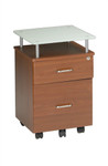 Mayline Vision Series Cherry Desk Pedestal with Glass Top 973