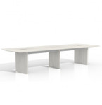12' white conference table with optional power