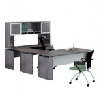 medina u shaped desk with gray steel finish