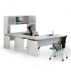 medina u shaped desk with sea salt finish
