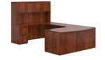Offices To Go SL-D-ADC Bow Front U Desk with Hutch in Dark Cherry