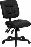 flash furniture armless leather task chair angled view