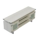 white ash mirella low wall cabinet with silver trim
