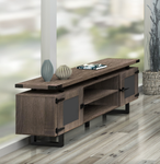 mirella southern tobacco low wall cabinet with smoked glass doors