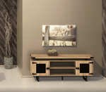 """72"""" safco mirella low wall cabinet with sand dune finish and black trim"""
