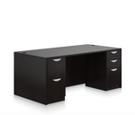 offices to go sl-q double pedestal desk with espresso finish