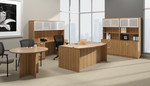 offices to go superior laminate complete executive furniture set with walnut finish