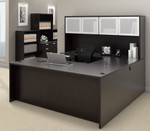 offices to go superior laminate u-shaped workstation with espresso finish
