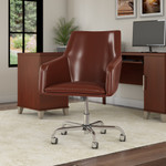 bush business furniture london leather box chair in harvest cherry