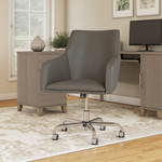 bush business furniture london leather box chair in washed gray