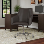 bush business furniture london leather box chair in brown