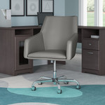 bush business furniture london leather box chair in light gray
