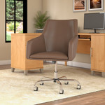 bush business furniture london leather box chair in saddle